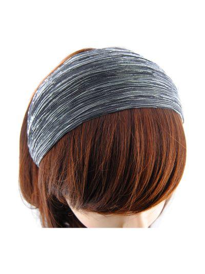 Glitzerfäden Stoff Breite Haarreif in Grau