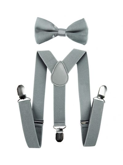 Kinder Hosenträger-Y Form mit Fliege in Grau