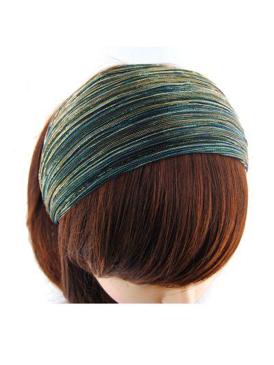 Glitzerfäden Stoff Breite Haarreif in Peacock Blue