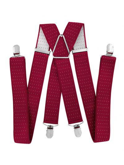 Herren Hosenträger breit 3,5 cm in Rot  mit weissen Punkten