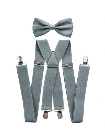 Herren Hosenträger 3,5cm breit mit Fliege Set in Grau