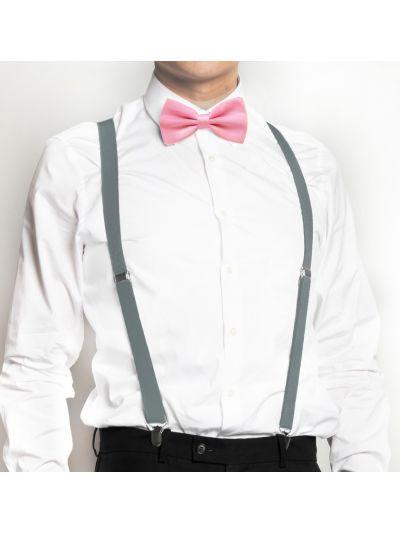 Herren Grau Hosenträger mit Pink Fliege Set