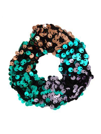axy Haargummi mit Pailletten, elastisch  glitzernd, für Mädchen und Frauen