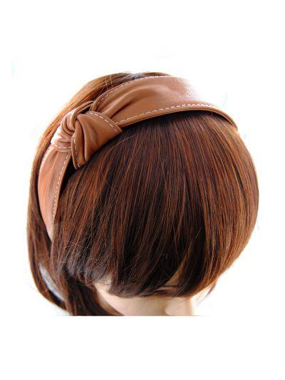 Leder Haarreif mit Knoten Vintagelook in Braun