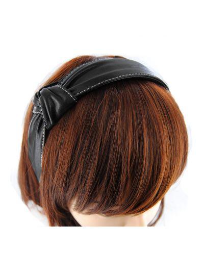 Leder Haarreif mit Knoten Vintagelook in Schwarz