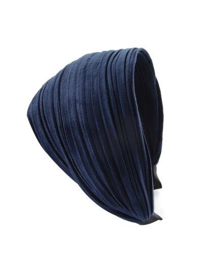 Leder Optik Breite Haarreif in Blau