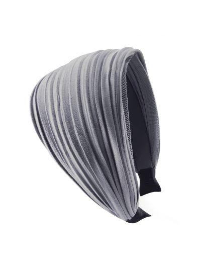 Leder Optik Breite Haarreif in Grau