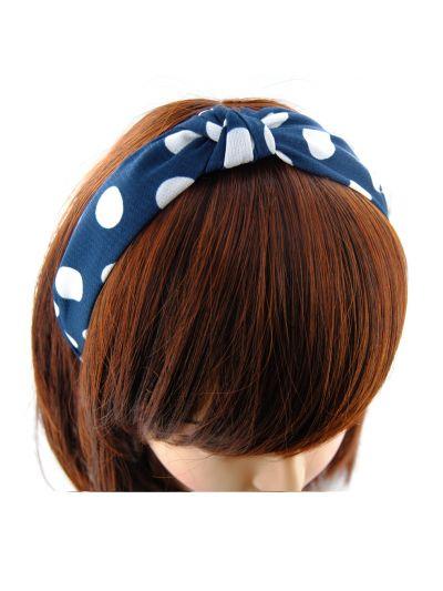 Stoff Haarreif mit Knote-Blau mit Weissen Punkten