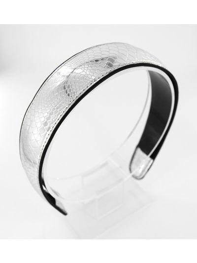 axy Kroko optik Haarreif aus PU Leder,Stirnband  Haarband-Silber