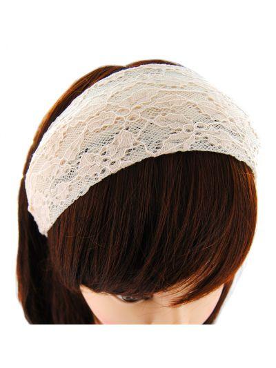 Haarreif aus wunderschöner Spitzenstoff-Cream Farbe ,Stirnband Haarband