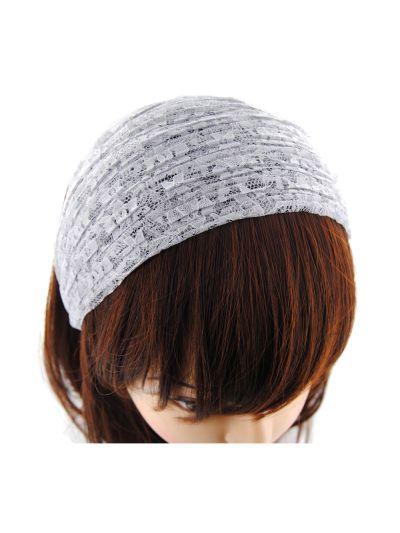Breite Haarreif aus Spitze Stoff in Grau
