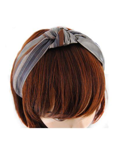 Haarreif mit Bronze Leder&gestreifte Stoff