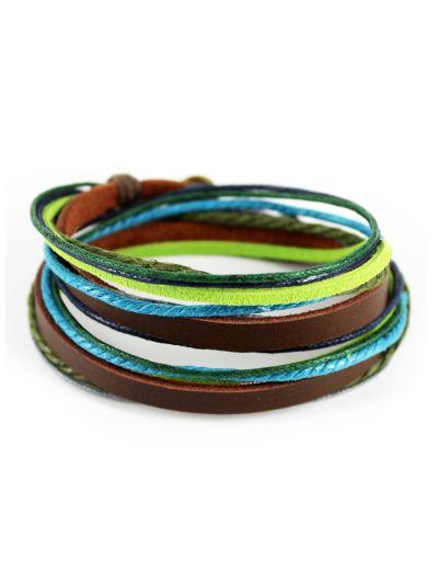 axy Wickelarmband aus Braun Leder & Blau und Grün Seil
