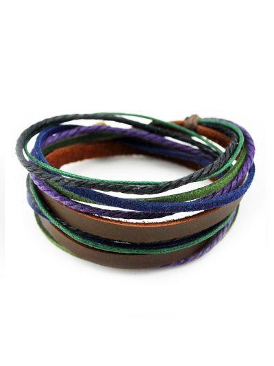 axy Wickelarmband aus Braun Leder & Lila und Grün Seil