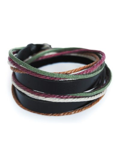 axy Wickelarmband aus Echt Leder & Baumwolle Seil