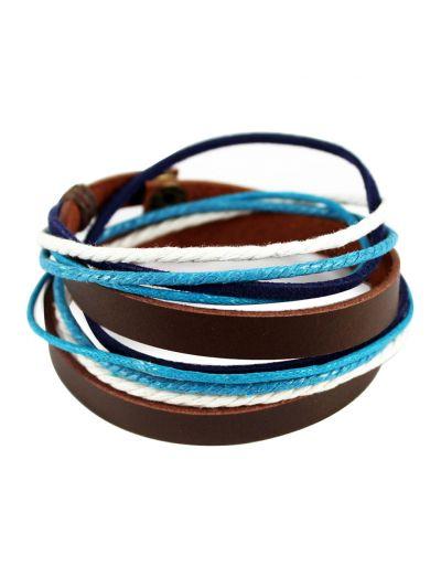 axy Wickelarmband aus Leder & Blau Weiss Baumwolle Seil