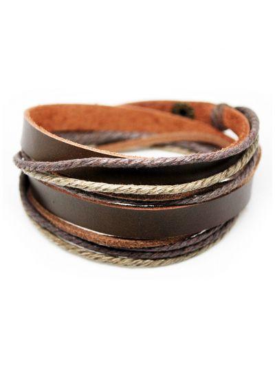 axy Wickelarmband aus Braun Leder & Seil
