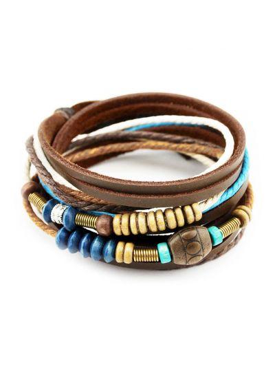 Wickelarmband aus Echt Leder und Baumwolle Seil