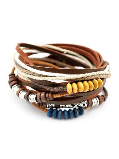 Tibet Wickelarmband aus Braun Leder und Seil