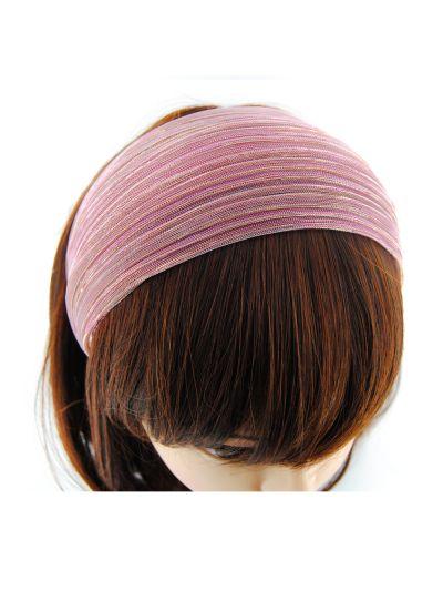 Glitzerfäden Stoff Breite Haarreif in Pink