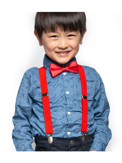 Kinder Hosenträger-Y Form mit Fliege in Rot