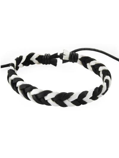 axy Ledersurferarmband Schwarz/Weiß-unisex